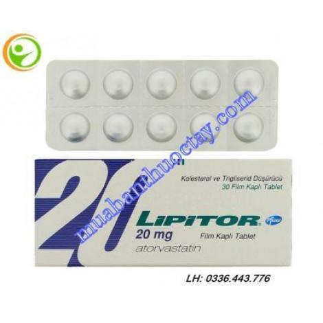 Thuốc giảm mỡ máu Lipitor 20mg