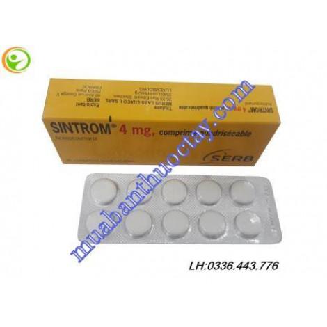 Thuốc chống đông phòng huyết khối sintrom 4mg hàng pháp